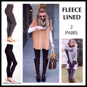 2 FLEECE LINED LEGGINGS FOOTLESS TIGHTS A3C